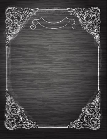 ChalkboardDecorativ e のレトロなバナーをビンテージ フレームバナー、招待状、結婚式のカード、スクラップ ブックを使用できます。ロイヤル ベクター