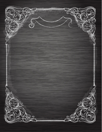 Vintage frame on the chalkboardDecorativ e retro banner. Can be used for banner, invitation, wedding card, scrapbooking and others. Royal vector design element.  Stock Photo
