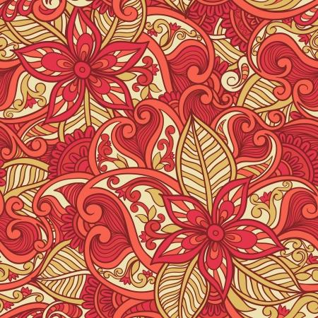Decorative floral ornamental seamless pattern