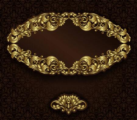 vintage gold frame: Vintage gold frame and detailed seamless pattern.  Illustration