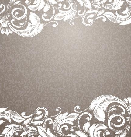 Vintage beige background with white curls.