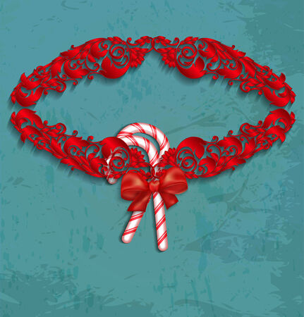 Christmas frame with candy and red bow.  Vector