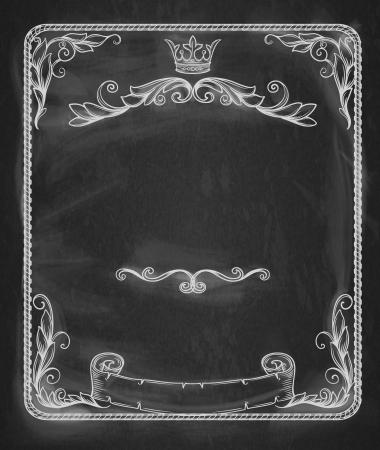 Vintage banner.Background chalkboard. Illustration
