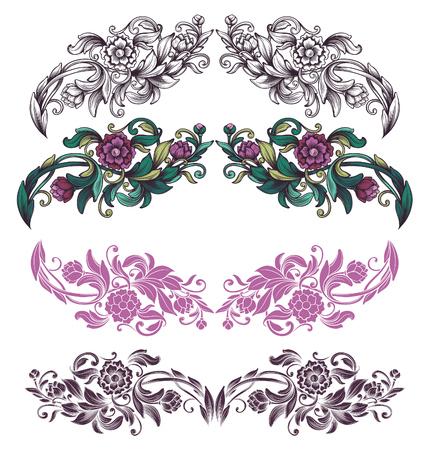 bordure de page: �l�ments de design floral Illustration