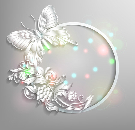 round frame with butterfly and flowers with effect of stucco  Vector