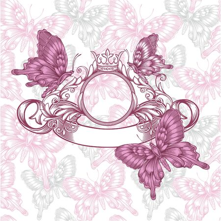 Vintage emblem with butterflies seamless pattern  Vector