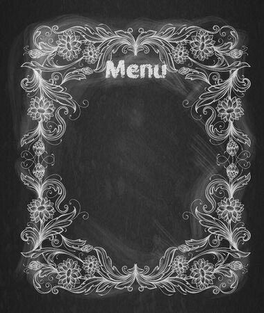 chalk frame: Vintage frame on the chalkboard Decorative retro banner.