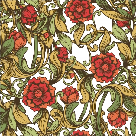bright vintage pattern with decorative flowers