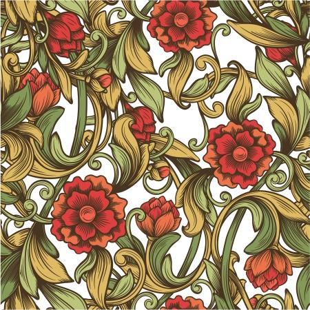 Patrón de la vendimia brillante con flores decorativas Foto de archivo - 24471386