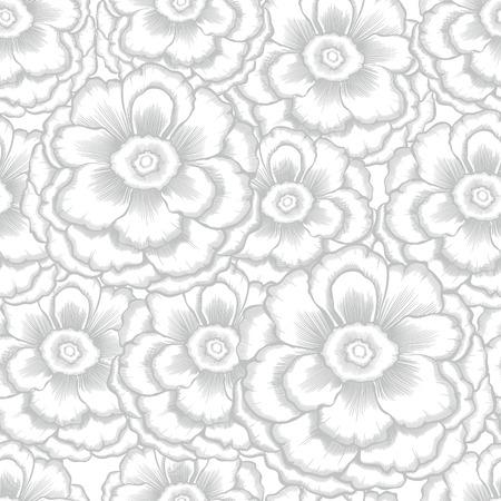 peonies: monochrome seamless pattern with decorative peony Illustration