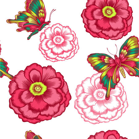 seamless pattern with decorative flowers and butterflies