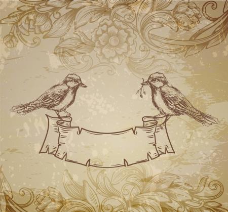 arbol de pascua: tarjeta de felicitación con los pájaros dibujados a mano
