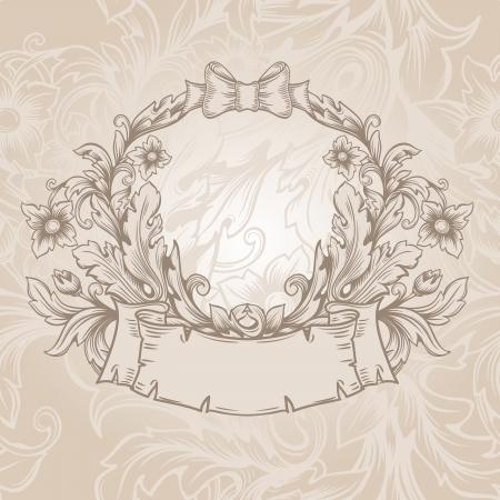 rococo style: Emblema de la vendimia retra. Vector vintage borde del marco grabado con modelo ornamento retro en el dise�o decorativo de estilo antiguo rococ� Vectores