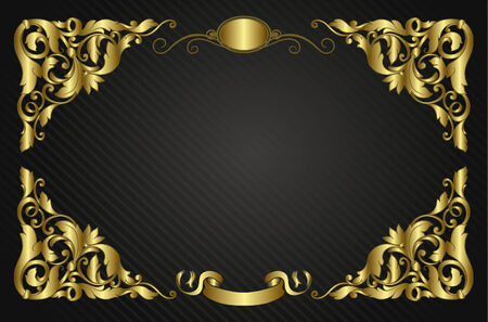 golden border: Invitation with vintage elements, vector illustration