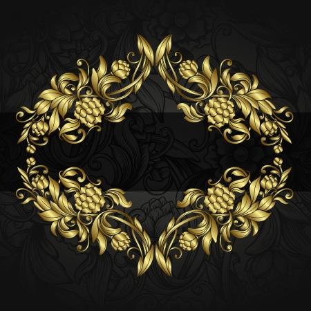 gold swirls: vintage background with golden ornamental design elements  Illustration