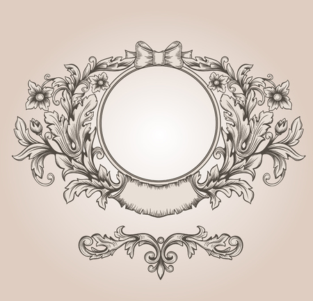 Retro floral cartouche. Hand drawn banner and ribbon vector illustration  Vector