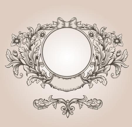 cartouche: Retro floral cartouche. Hand drawn banner and ribbon vector illustration  Illustration