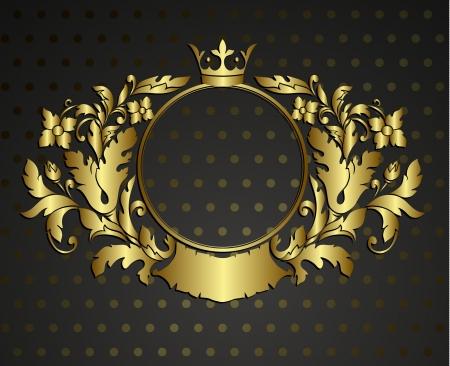 rococo style: Cartela emblema de oro. Vector vintage borde del marco grabado con modelo ornamento retro en el dise�o decorativo de estilo antiguo rococ�