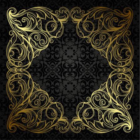 rococo style: Vector vintage borde del marco grabado con modelo ornamento retro en el dise�o decorativo de estilo antiguo rococ� Vectores