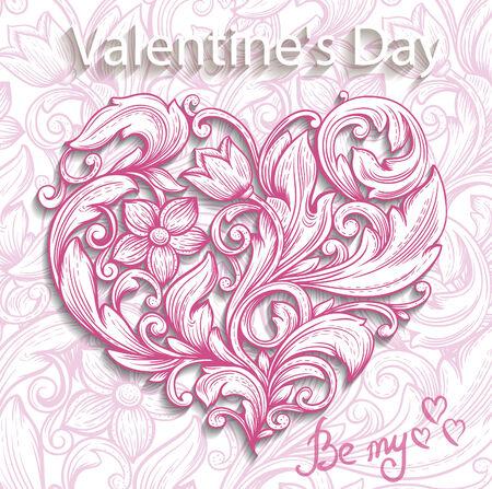 Decoratief sierhart. Valentijnsdag vector illustratie. Stock Illustratie