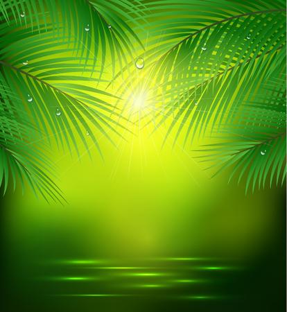 grünen Hintergrund mit Palmzweigen