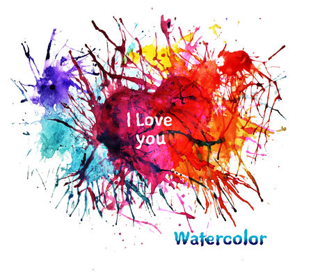 abstract watercolor splashes and heart  Vector