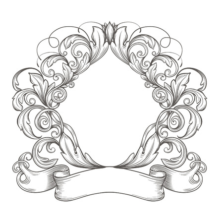ornamental scroll: Retro vintage emblem, floral cartouche. Illustration
