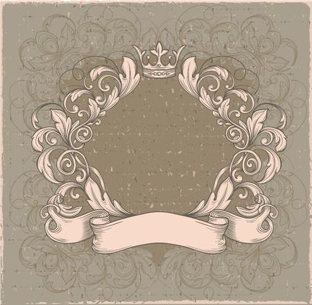 cartouche: Retro vintage emblem, floral cartouche.