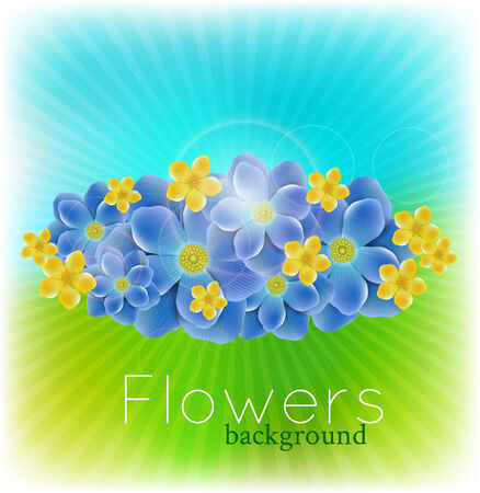 background with realistic flowers Vector