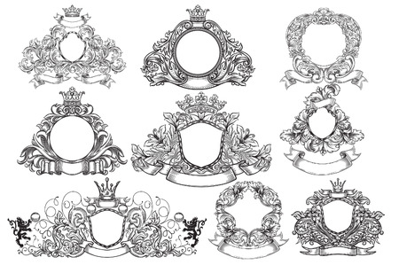 cartouche: set of vintage emblems and cartouches Illustration