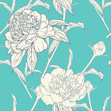 pfingstrosen: Vintage floral nahtlose Muster mit Pfingstrosen Illustration