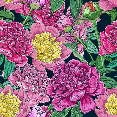 peonies: Vintage floral seamless pattern with peonies Illustration