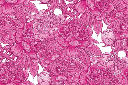 Vintage floral seamless pattern with peonies Vectores