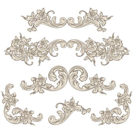 set of calligraphic elements vintage baroque