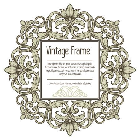 rococo style: Vector vintage borde del marco grabado con modelo ornamento retro en estilo antiguo rococ�