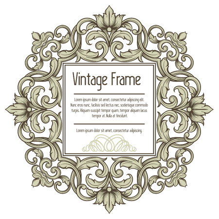 Vector vintage border frame engraving with retro ornament pattern in antique rococo style Vector