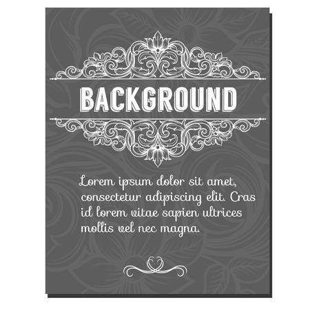 rococo style: Vector marco de la frontera de la vendimia grabado con modelo ornamento retro en estilo antiguo rococ� Vectores