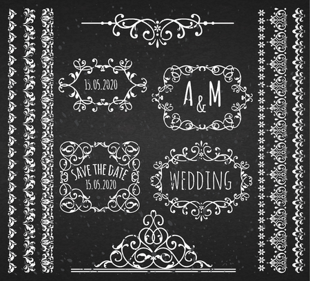 scroll border: Vintage Frames ,Scroll Elements and Borders. Chalkboard Style.