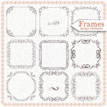 vintage scrolls: set ornate vintage frames