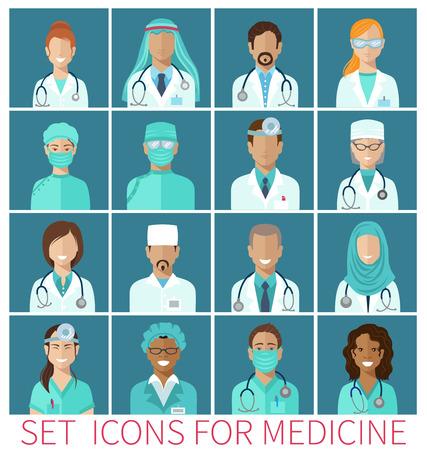 doctores: Conjunto de avatar iconos caracteres para la medicina, diseño plano Vectores