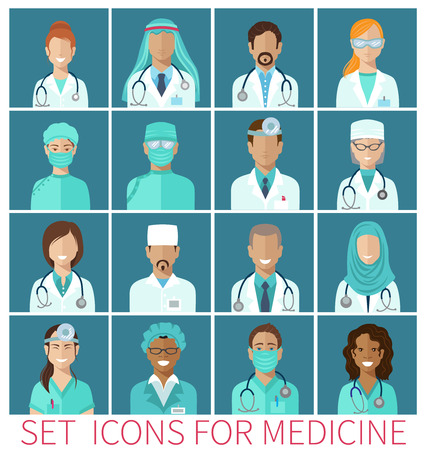 Set of  avatar icons characters for medicine, flat design