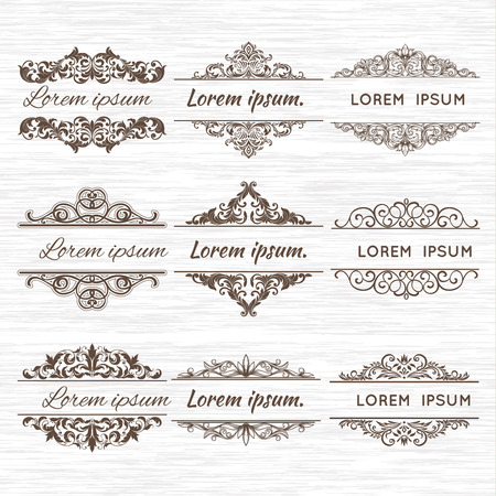 Sierlijke frames en scroll-elementen. Stock Illustratie