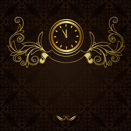 gold watch: Vintage background with ornament and hours