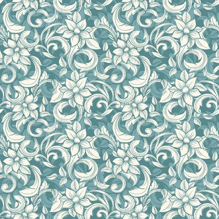 Nahtlose beige Blumenmuster im Stil der Damast- Standard-Bild - 36108218