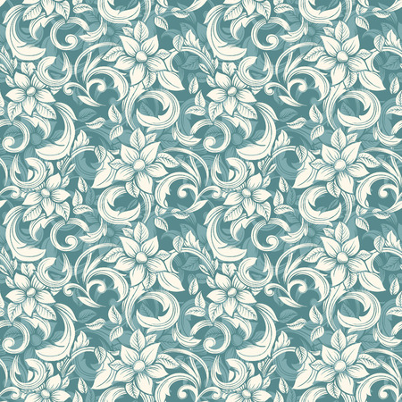 Seamless beige floral pattern in the style of Damask Illustration