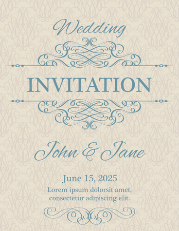 Invitation with calligraphy design elements in beige