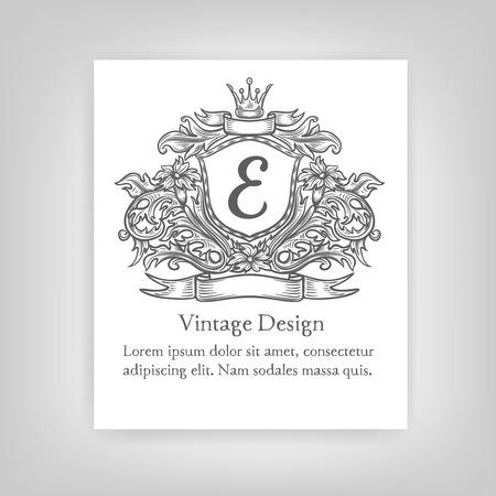 logotipos de restaurantes: Emblema de la vendimia, monograma Vectores