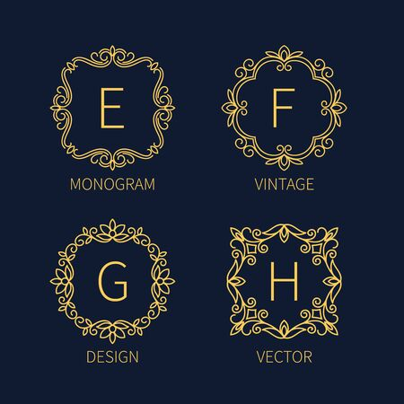 firms: Set outline monograms frame. Can be used as icon of organizations and firms.