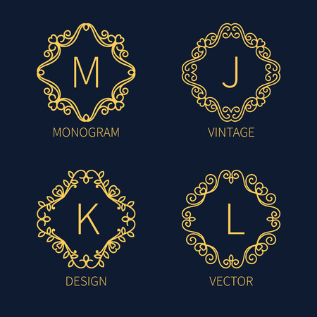 firms: Set outline monograms frame. Can be used as logo of organizations and firms.