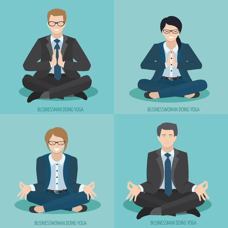 men cartoon: Businesswoman and businessman meditate, doing yoga, sitting in lotus position Illustration